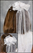 Catholic Girls First Holy Communion Organza Ribbon with 13cm Dangling Flower Headpiece Comb Hair Bow