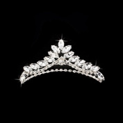 Bridal Wedding Jewellery Crystal Rhinestone Simple Chic Teardrop Hair Tiara Silver