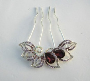 Colourful Rhinestone Flower Wedding Bridal Comb with Crystal +Gift Box