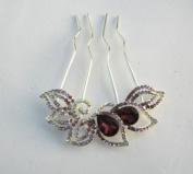 Colourful Rhinestone Flower Wedding Bridal Comb with Crystal +Gift Box