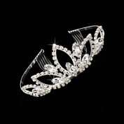 Bridal Wedding Jewellery Crystal Rhinestone Wide Sparkle Classic Hair Tiara Silver