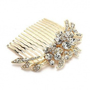 Bridal Wedding Jewellery Crystal Rhinestone Duo Flowers Hair Comb Pin Gold