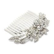 Bridal Wedding Jewellery Crystal Rhinestone Duo Flowers Hair Comb Pin Silver