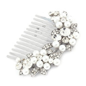 Bridal Wedding Jewellery Crystal Rhinestone Pearl Floral Hair Comb Pin Silver