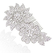 Ever Faith Silver Gorgeous Dual Flower Leaf Clear Austrian Crystal Hair Comb