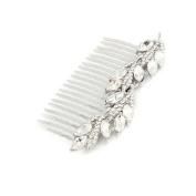Bridal Wedding Jewellery Crystal Rhinestone Gorgeous Leaf Hair Comb Pin Silver