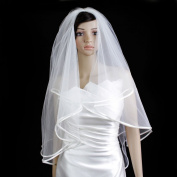 Wedding Veil Bridal Designer Two Tier Ivory Fingertip Plain Satin Hem Trim Edge