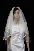 Wedding Veil Bridal Bride 2 Tier White Fingertip Length Plain Satin Hem Edge