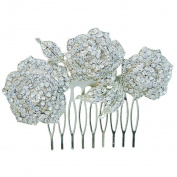 Ever Faith Silver Wedding Triple Rose Leaf Hair Comb Austrian Crystal