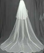 (Ship From USA) 2 Tier Cathedral Swarovski Crystal Rhinestones Bridal Wedding Veil Extra Wide