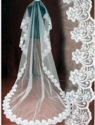 1 Tier Layer Beautiful Cathedral Bridal Wedding Veil with Appliques Edge-V12