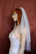 Wedding Veil Bridal Bride Two Tier Ivory Scalloped Elbow Length Crystal Beaded