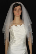 Wedding Veil Bridal Bride Two Tier White Scalloped Elbow Clear Rhinestone Beaded