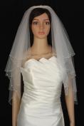 Wedding Veil Bridal Bride Two Tier White Scalloped Elbow Clear Rhinestone Beaded
