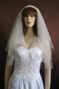 Wedding Veil Bridal Bride 2T Diamond Off White Elbow Crystal Beaded Trim 60cm x 80cm