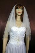 Wedding Veil Bridal Bride 2T White 60cm X 80cm Elbow Crystal Clear Beaded Edge