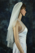 Wedding Veil Bridal 2 Tier Diamond Off White Scalloped Crystal Beaded Fingertip