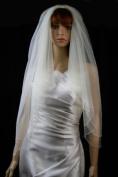 Wedding Veil Bridal 2T Ivory Fingertip Scalloped Crystal Beaded Teardrop Trim
