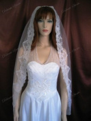 Wedding Veil Bridal 1T White 110cm Spanish Waltz Scalloped Lace Mantilla Trim