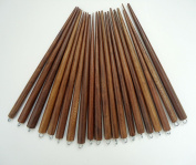 Set of 20 Wooden Hair Sticks with Silver Ring for Embellishing, Six Inches Long, Stained Medium Brown