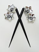Six Inch Black Wooden Hair Sticks with Silver Flowers - Handmade Original By Lanzacreations