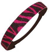 Glitter Headband Pink and Black Zebra by Kenz Laurenz - Elastic Stretch Sparkly Fashion Headbands for Teens Girls Women Softball Pack Volleyball Basketball Set Sports Teams Store