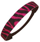 Glitter Headband Pink and Black Zebra by Kenz Laurenz - Elastic Stretch Sparkly Fashion Headbands for Teens Girls Women Softball Pack Volleyball Basketball Set Sports Teams Store