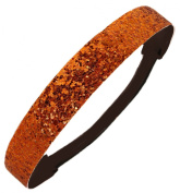 Orange Glitter Headband by Kenz Laurenz - Elastic Stretch Sparkly Fashion Headbands for Teens Girls Women Softball Pack Volleyball Basketball Set Sports Teams Store