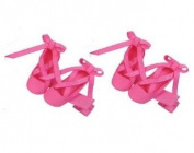 2pc Set Ballerina Hair Bow Clips - Hot Pink Ballet Shoes