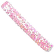 3 Row 3.2cm Metallic Stretch Sequin Headband - Pink AB