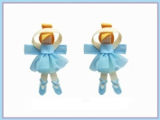 2pc Set Blue Ballerina Hair Bow Clips