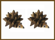 2pc Set Hedgehog Hair Bow Clips - Brown