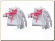 2pc Set Horse Hair Bow Clips - White