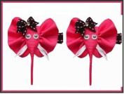 2pc Set Pink Elephant Hair Bow Clips