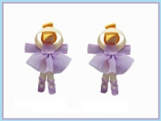 2pc Set Purple Ballerina Hair Bow Clips