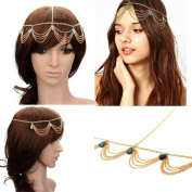 HYL New Fashion Metal Head Band Gold Tone Jewellery Headpiece Chain Hairband Headband