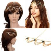 HYL New Fashion Metal Head Band Gold Tone Jewellery Headpiece Chain Hairband Headband