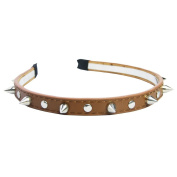 LookbookStore Punk 3D Silver-tone Rivet Stud Spike Colourway Faux Leather Headband Hair Band, Brown