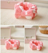 1pc Cute Lovely Pink Heart Bowknot Wash Makeup Hair Band Shower Band Headband