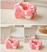 1pc Cute Lovely Pink Heart Bowknot Wash Makeup Hair Band Shower Band Headband