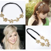 HYL New lady 1x gold Olive leaf headband head piece chain leaves golden elastic band