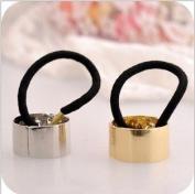 European Metal Circle Hair Cuff PonyTail Elastic Rope Band Hair Tie Hairpiece