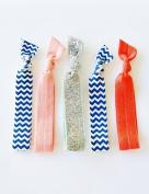 5 Hair Ties, Chevron Sparkle, Elastic Ribbon Hair Ties By Lucky Girl Hair Ties Brand