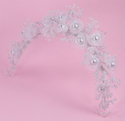 Charming Pearl Comb of Organza and Satin Flower Adorned with Lustrous Pearls for Bride, Bridesmaid, Wedding Flower Girl, Communion, and Other Special Events #81FFw