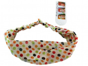 Colourful Polka Dots On White Headband - Polka Dot Stretch Headband - Stylish Fashion Headband
