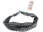 Grey / Black Leopard Print Headband - Faux Leopard / Cheetah Headband - Stylish Fashion Headband