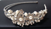 Bridal Wedding Jewellery Crystal Rhinestone Pearl Duo Flowers Headband Silver #222