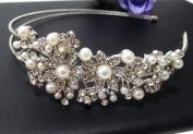 new beautiful elegant wedding flower bridal headband pearl and crystal