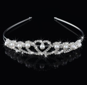 (Ship From USA) White Pearl Heart Shape Hair Band Wedding Bridal Tiara Crystal Crown Prom Party