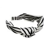 Mia Headband - Fashion U Shape Black and White Striped Silk with Knot